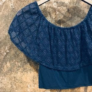 Clockhouse Tops - Clockhouse blue cropped peasant top